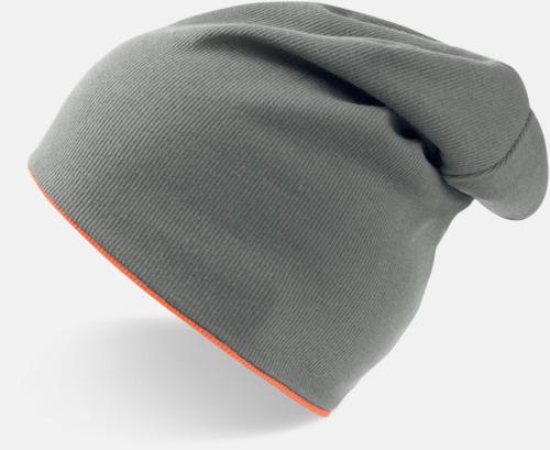 Grå/Orange Fluo In och ut-vändbara beanies med brodyr