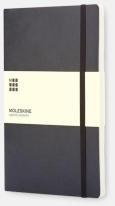 Svart (plain) Moleskine mjuka notisböcker i 3 utföranden med reklamtryck