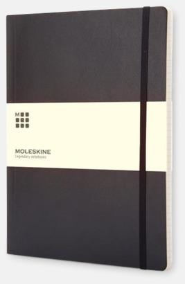 Svart (ruled) Moleskine extra stora, mjuka notisböcker i 3 utföranden med reklamtryck