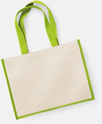 Natur/Apple Green Stora shoppingbagar i jute med reklamtryck