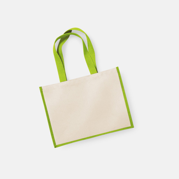 Natur/Apple Green Stora shoppingbagar i jute med reklamtryck