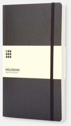 Svart (squared) Moleskine mjuka notisböcker i 3 utföranden med reklamtryck