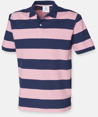 Marinblå / Rosa Randiga pikétröjor med reklamtryck