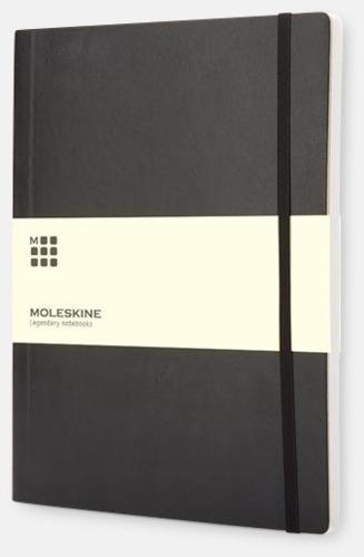 Svart (squared) Moleskine extra stora, mjuka notisböcker i 3 utföranden med reklamtryck