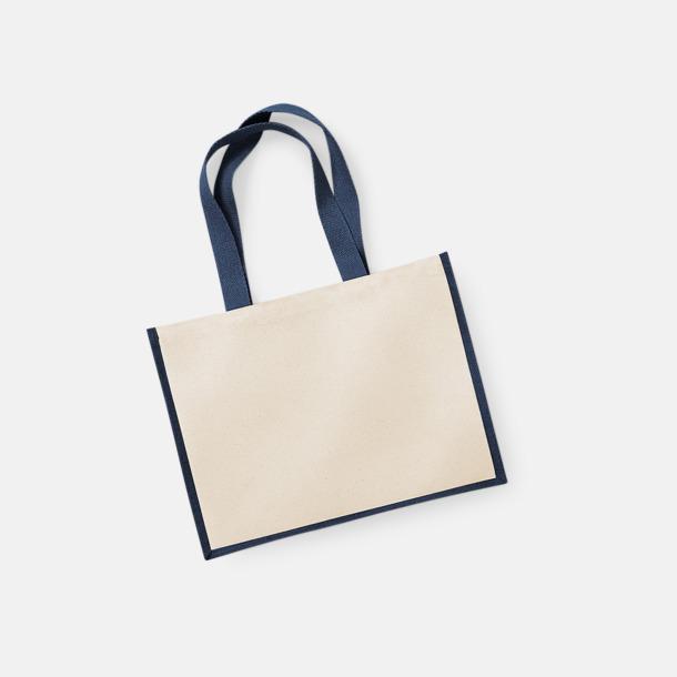 Natur/Marinblå Stora shoppingbagar i jute med reklamtryck