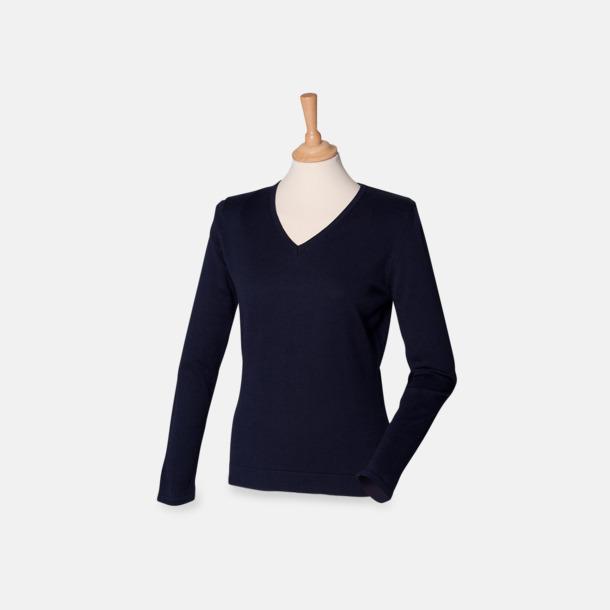 Marinblå (dam) V-neck jumper i herr- & dammodell med reklamtryck