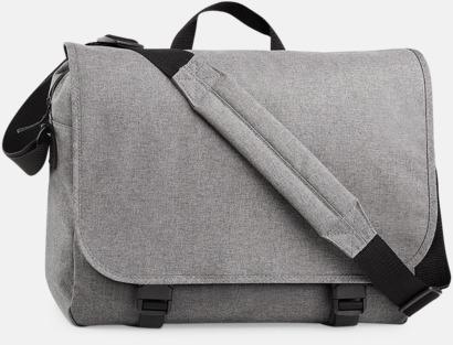 Grey Marl Laptop axelväskor i tvåton med reklamtryck