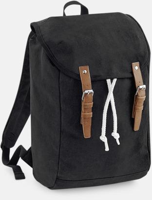 Svart Vintage-ryggsäckar med reklamtryck