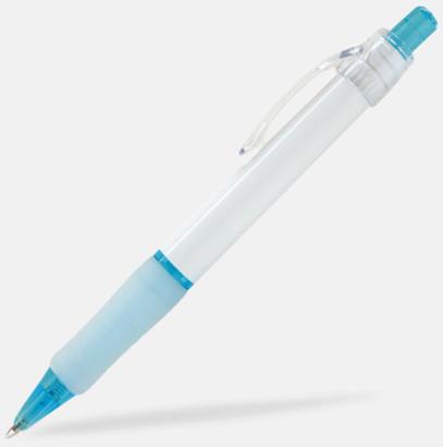 Ljusblå (White) Billig reklampenna med skön skrivkänsla