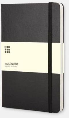 Svart (large) Moleskine-böcker med blanka sidor och hårt omslag - med reklamtryck
