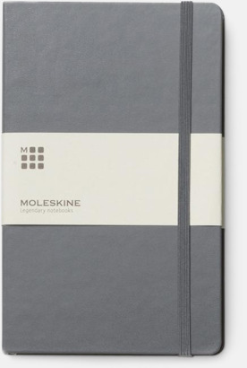 Payne's Grey (ruled) Moleskines stora anteckningsböcker med linjerade eller rutade sidor - med reklamtryck