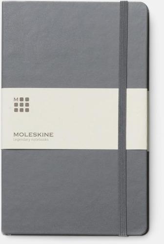 Grå (ruled) Moleskines stora anteckningsböcker (ca A5) med linjerade eller rutade sidor - med reklamtryck