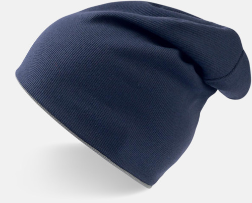 Marinblå/Grå In och ut-vändbara beanies med brodyr