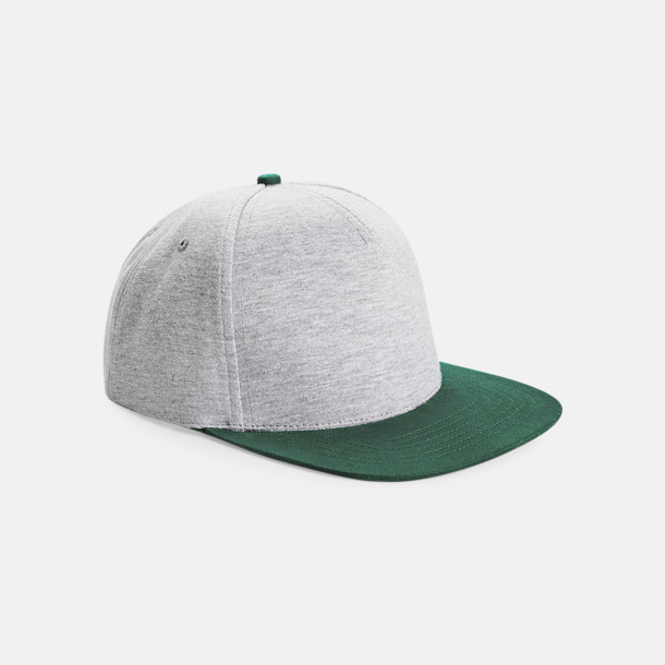 Heather Grey/Bottle Green Jerseykepsar med reklamtryck