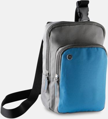 Slate Grey/Aqua Blue Snygga axelremsväskor med reklamtryck
