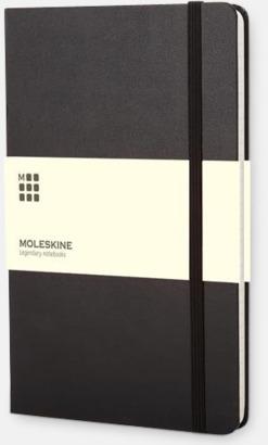 Svart (ruled) Moleskines stora anteckningsböcker med linjerade eller rutade sidor - med reklamtryck