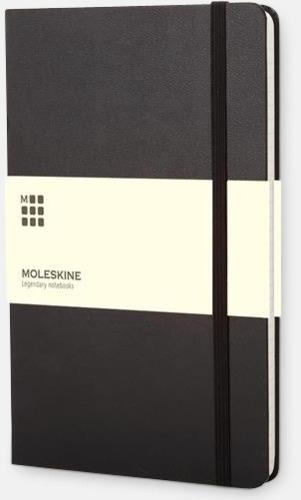 Svart (ruled) Moleskines stora anteckningsböcker (ca A5) med linjerade eller rutade sidor - med reklamtryck