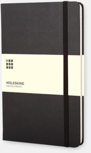 Svart (ruled) Moleskines mindre (ca A6) anteckningsböcker med linjerade eller rutade sidor - med reklamtryck