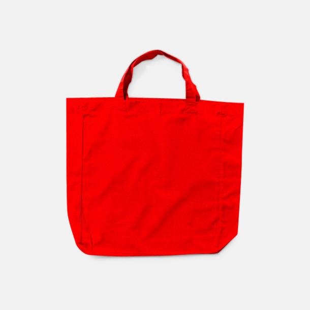 Röd (korta handtag) Billiga shoppingkassar i bomull med reklamtryck