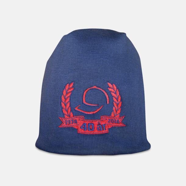 Marinblå Jersey bomullsmössa med fleecefoder - med reklambrodyr