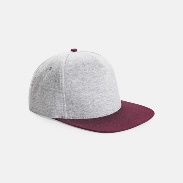 Heather Grey/Burgundy Jerseykepsar med reklamtryck