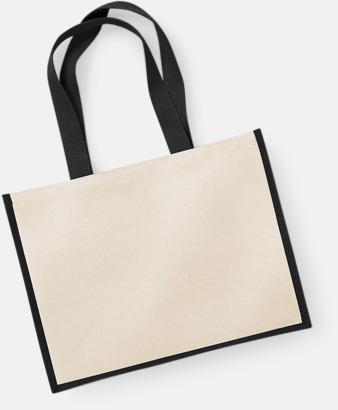 Natur/Svart Stora shoppingbagar i jute med reklamtryck