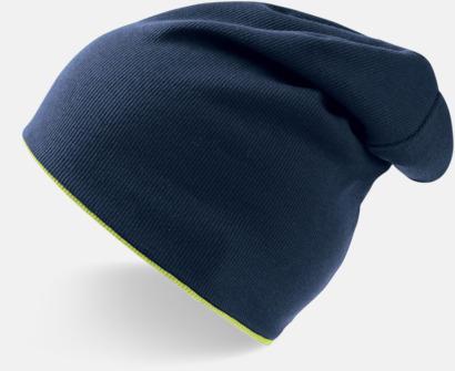 Marinblå/Yellow Fluo In och ut-vändbara beanies med brodyr