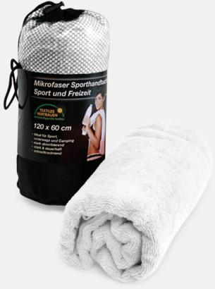 Vit (badlakan) Polyesterhanddukar i 2 storlekar med reklambrodyr