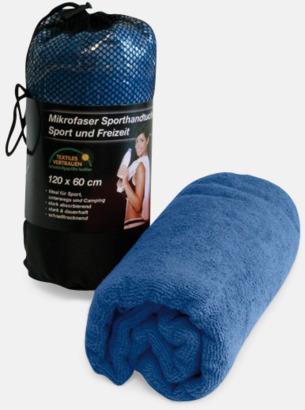 Blå (badlakan) Polyesterhanddukar i 2 storlekar med reklambrodyr