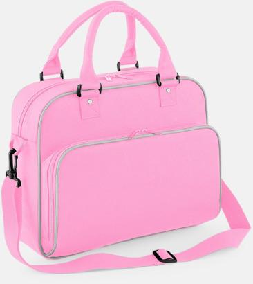 Classic Pink/Ljusgrå Fritids axelväskor med reklamtryck