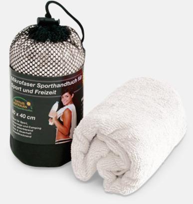 Vit (handduk) Polyesterhanddukar i 2 storlekar med reklambrodyr