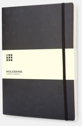 Svart (plain) Moleskine extra stora, mjuka notisböcker i 3 utföranden med reklamtryck