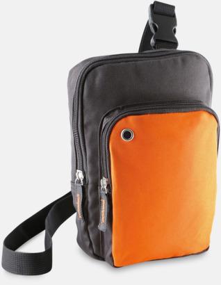 Mörkgrå/Orange Snygga axelremsväskor med reklamtryck