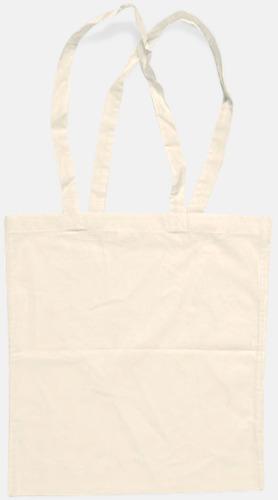 Natur (långa handtag) Billiga bomullskassar med långa eller korta handtag - med reklamtryck