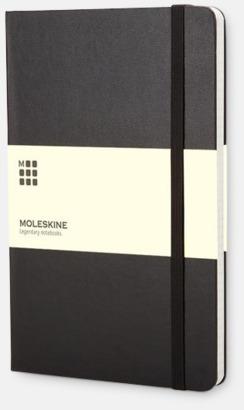 Svart (squared) Moleskines mindre anteckningsböcker med linjerade eller rutade sidor - med reklamtryck