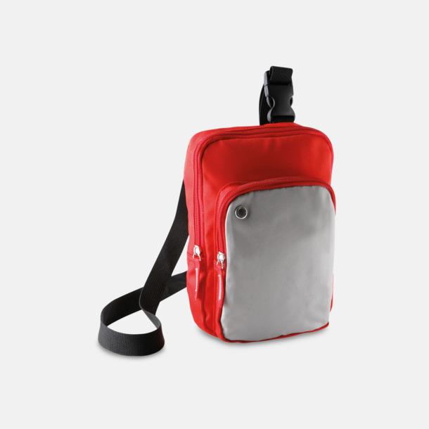Röd/Ljusgrå Snygga axelremsväskor med reklamtryck