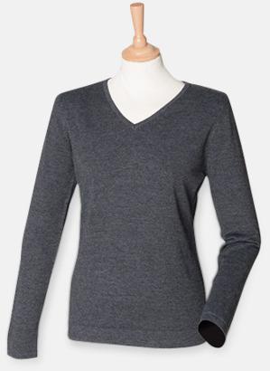Grey Marl (dam) V-neck jumper i herr- & dammodell med reklamtryck
