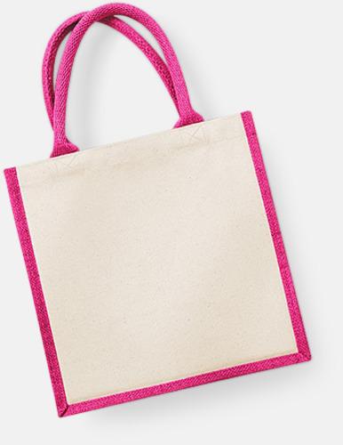 Natur/Fuchsia Stora shoppingbagar i jute med reklamtryck