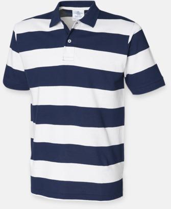 Marinblå / Vit Randiga pikétröjor med reklamtryck