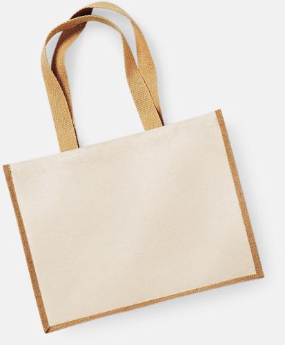 Natur Stora shoppingbagar i jute med reklamtryck