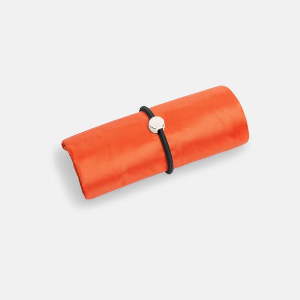 Orange Vikbara shoppingväskor med reklamtryck