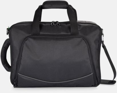 Svart Laptop axelväska och -ryggsäck i ett med reklamtryck