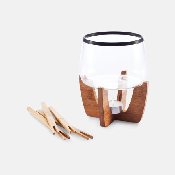 Fondue-set med bambu med reklamtryck