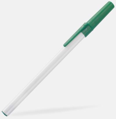 Vit / Grön Bläckpennor med lock - med reklamtryck