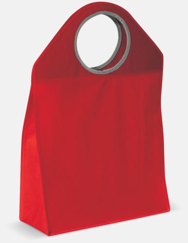 Röd Stora non woven-väskor med runda handtag - med reklamtryck