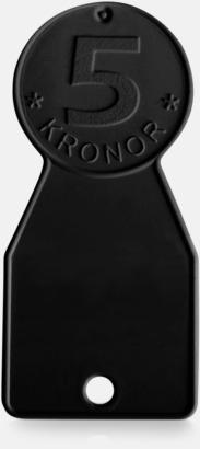 Svart 5-kroneformade kundvagnsmynt med reklamtryck