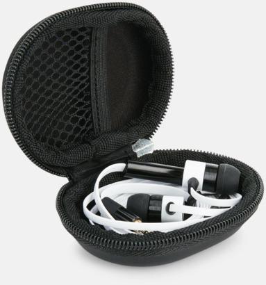 Vit In-ear hörlurar med mikrofon - med reklamtryck