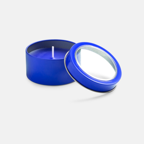 Blå Vaniljedotande värmeljus med reklamtryck