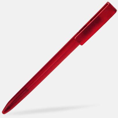 Röd Plastpennor i lätt transparenta färger med reklamtryck