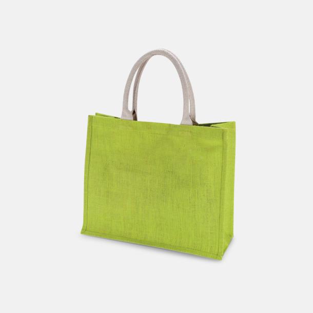 Lime Jute strandbagar med reklamtryck